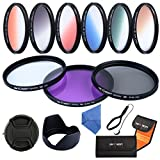 58MM Lens Filter Accessory Kit,K&F Concept® Slim Objective Filter Set 9pcs 58mm UV Protector + Polarizing Filter + Graduated Color Filter(Orange,Blue,Grey(ND)) for Canon EOS Nikon DSLR Cameras
