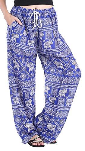 - CandyHusky Women's Elephant Wide Leg Palazzo Hippie Boho Gypsy Yoga Harem Pants (Elephant 5 Blue)