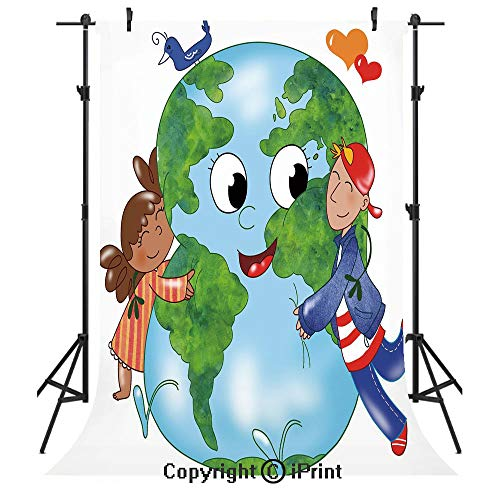 - Earth Photography Backdrops,Two Cute Kids Hugging Happy Planet Earth Bird and Hearts Embracing in Cartoon Style Decorative,Birthday Party Seamless Photo Studio Booth Background Banner 6x9ft,Multicolor