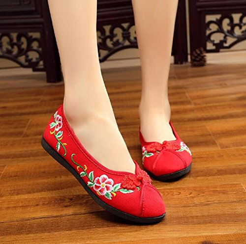 Dress Cheongsam Shoes Embroidery Casual Women Lazutom Lady Canvas Flats Red XwOq4