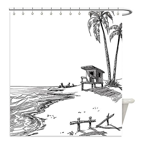 [Liguo88 Custom Waterproof Bathroom Shower Curtain Polyester Decor Collection Sketched Figure of Summer Beach with Palm Trees and Lifeguard Stand Seascape Concept Black White Decorative bathroom] (Zelda Life Guard Dog Costumes)