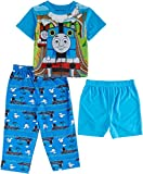 Thomas the Train and Friends Boys 3 piece Pajamas Set (3T, Thomas Blue)