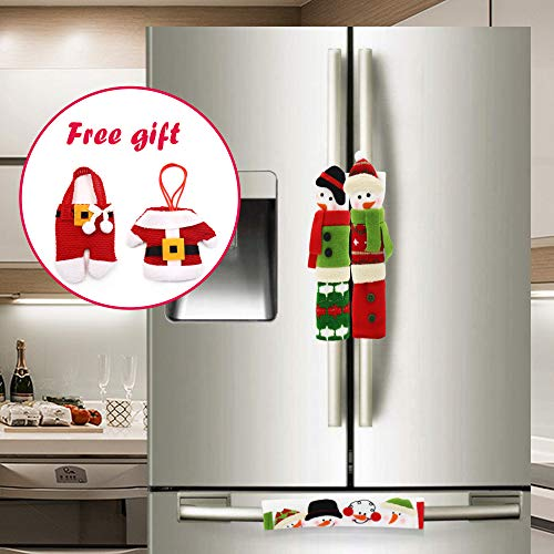 YEAHBEER Snowman Christmas Decorations - Kitchen Appliances Protector Fridge Oven Microwave Dishwasher Door Cloth Gloves - Set of 3 - With Free Gift Silverware Holder Pockets