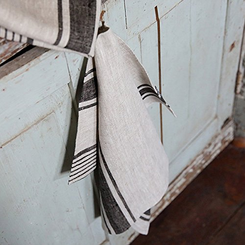 47 x 70 cm Provence LinenMe trapo de cocina de lino Natural dise/ño a rayas juego de 2 negro