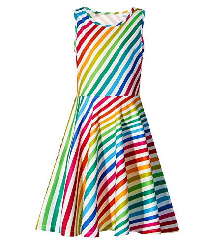 Kids Girls Sleeveless Dress 3D Rainbow Graphic Playwear Dresses Soft Princess Dresses Clothes for Church 10-12 T ()