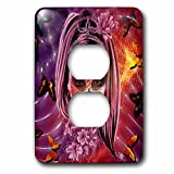 3dRose Sven Herkenrath Skull - Woman Skull in Pink and Purple Style Halloween Horror - Light Switch Covers - 2 plug outlet cover (lsp_266217_6)