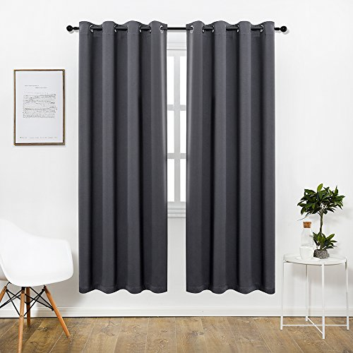 Anjee [HOT SALE] Grey Blackout Curtains (2 Panels), Light-Lock 2.0 Series Thermal Insulated Grommet Window Curtain Draperies for Living Room and Bedroom, W52 x L84 Inches (Curtains For Bedroom Sale)