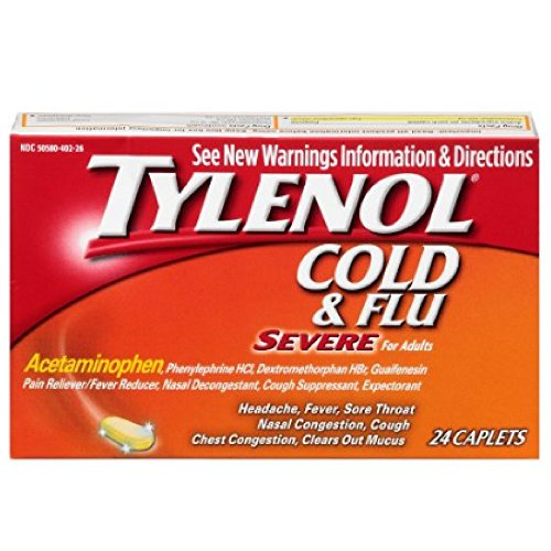 Tylenol Cold & Flu Severe for Adults Acetaminophen 24 caplets (Pack of 6) ()