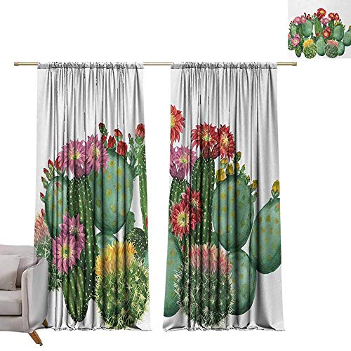 Curtain Panels Cactus,Saguaro Barrel Hedge Hog Prickly Pear Opuntia Tropical Botany Garden Plants Print,Multicolor W96 x L108 Grommet Curtain for Bedroom