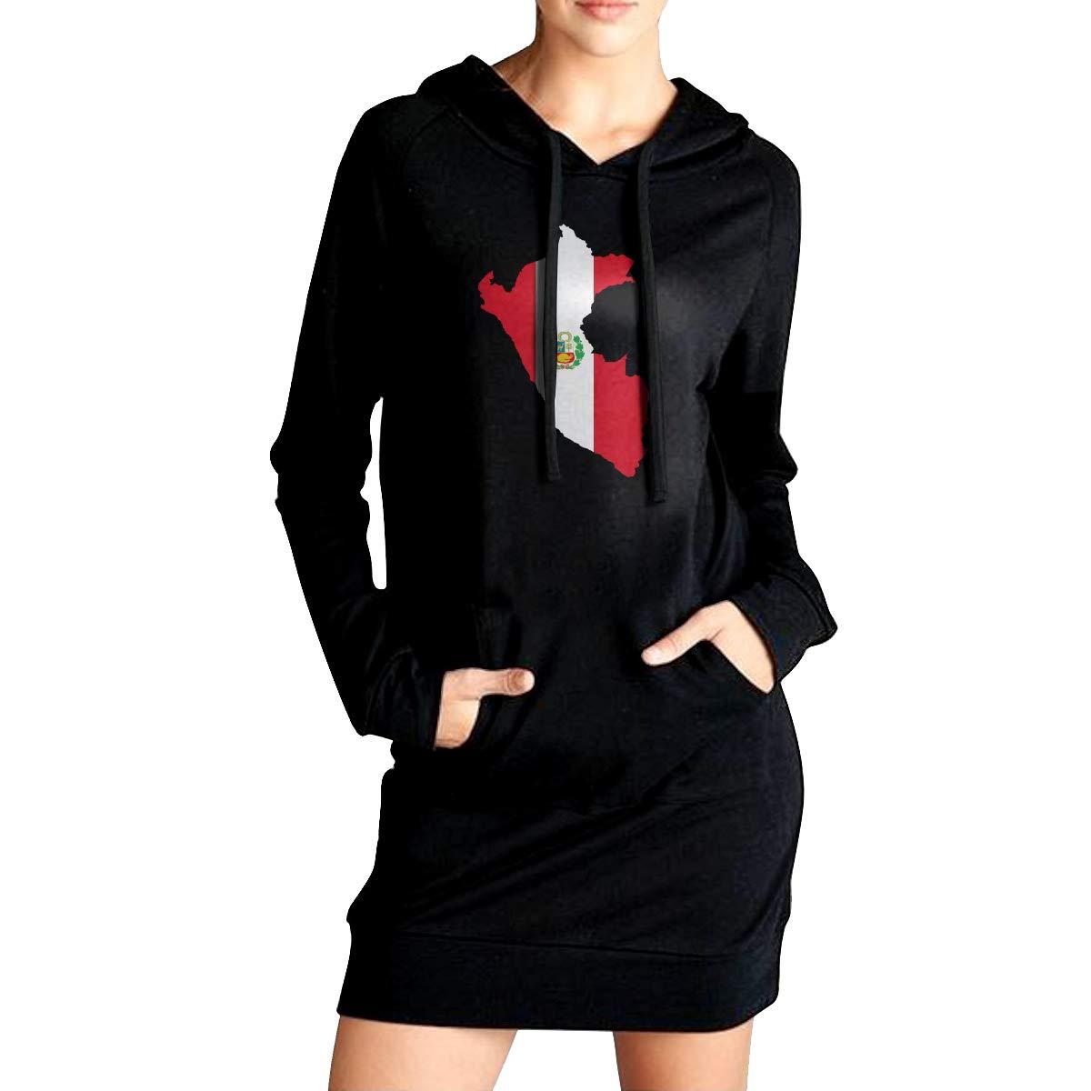 LL/&YGG Womens Long Hoodie Peru Flag Map Pullover Sweater Coat Woman