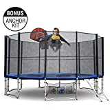 12ft Round Trampoline Free Basketball Set Safety Net Spring Pad Cover Ladder