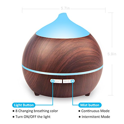 2PACK Essential Oil Diffuser, Iextreme 250ml Wood Grain diffuser With Auto Shut Off, 8 Colorful LED Light, Adjustable Mode Aroma Diffuser For Baby, Yoga, Spa, Home, Office by Iextreme (Image #2)