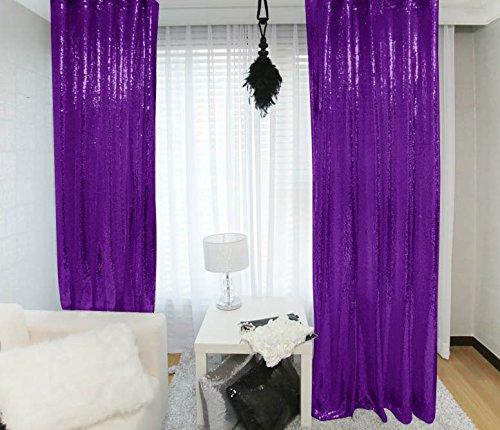 - Sequin Curtains 2 Panels 2FTx8FT Purple Glitter Backdrop Purple Sequin Photo Backdrop Wedding Pics Backdrop~Y1121