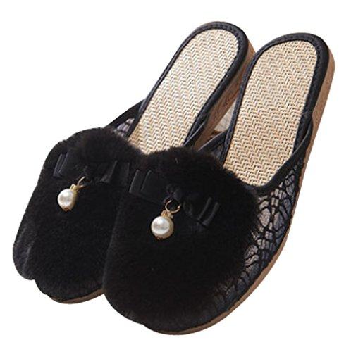 Cattior Womens Doublé Mignon Pantoufles Dames Pantoufles Noir