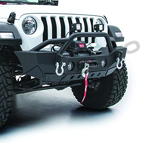 Razer Auto Black Stubby HD Rock Crawler Front Bumper w/Winch Plate & 2x D-Ring & Fog Light Hole for 18-19 Jeep Wrangler JL