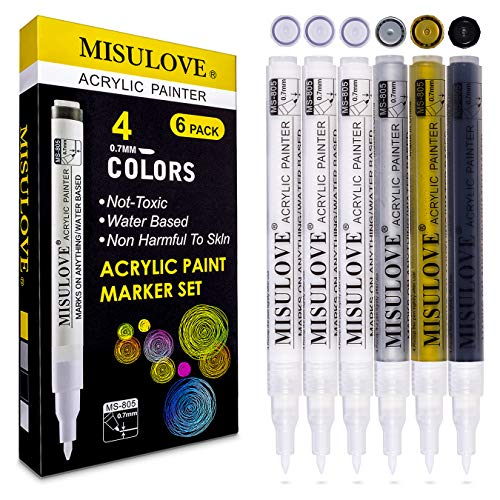 White Acrylic Paint Pens - Water Based, Permanent Markers, Extra-Fine Tip(0.7mm), for Rocks Painting Ceramic Glass Wood Fabric Canvas DIY Craft Making Supplies Scrapbooking and More(4 Colors/Set of 6)