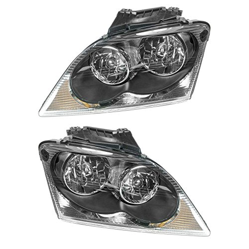 Headlights Headlamps Left & Right Pair Set for 04-06 Chrysler Pacifica