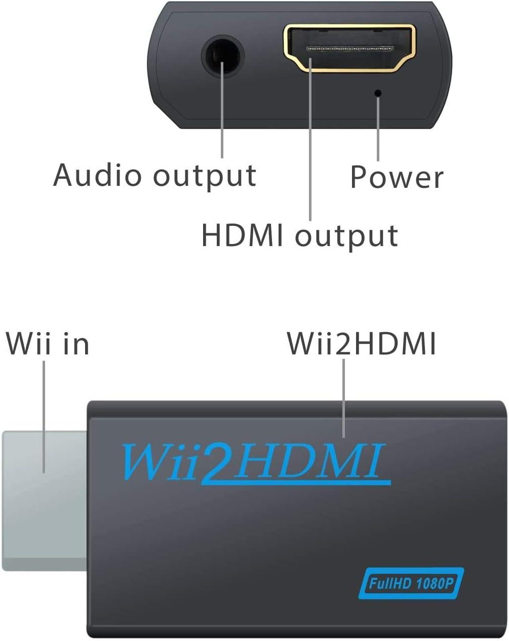 WesKimed Convertidor Wii a HDMI Adaptador Wii2HDMI Converter Wii to HDMI Conector con Salida de Video Full HD 1080p 720p y Audio de 3.5mm para Wii U Wii Smart HDTV Monitor Proyector