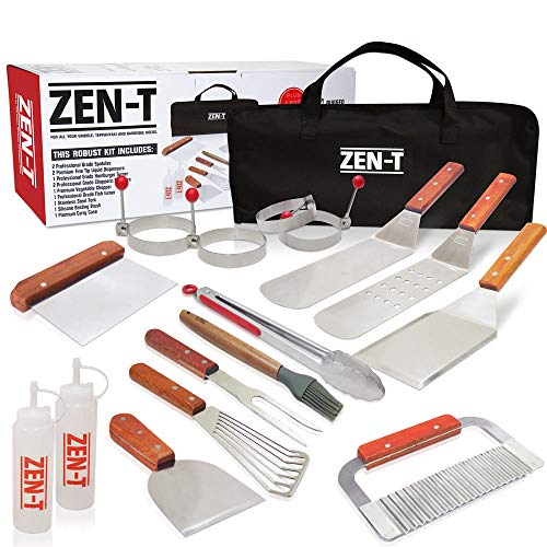 ZEN-T - 17 Piece Grill Griddle BBQ Tool Kit - Heavy Duty Professional Grade Stainless Steel BBQ Tools - Perfect Grilling Utensils for All Your Grilling Needs - Outdoor and Indoor BBQ Accessories