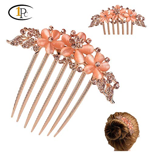 (FINGER LOVE France Luxury Pearl Rhinestone Floral 6 Tooth Vantage Handmade French Twist Comb (AChampagne) )
