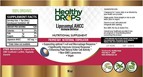 Amazon com: Liposomal AHCC 16 oz Non Gluten, Non Soy, Non