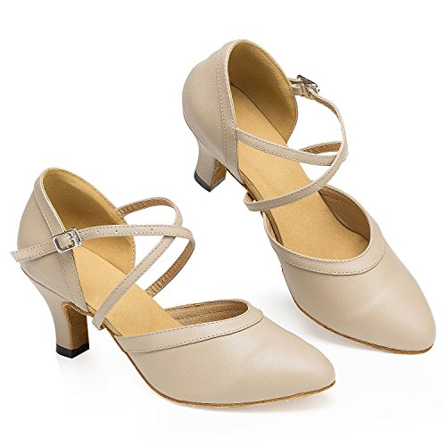 Dance Shoes Tango Beige Shoes TDA Women's Jazz Leather Latin Wrap Ankle Salsa wqOW6URXx