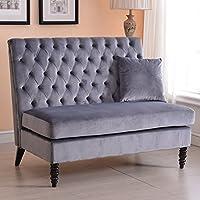 Belleze Modern Button Tufted Settee Bedroom Bench Loveseat Sofa Living Room Velvet, Gray
