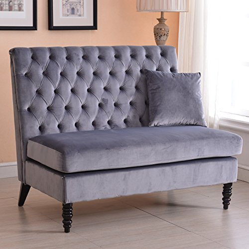 Velvet Button Stool (Belleze Modern Button Tufted Settee Bedroom Bench Loveseat Sofa Living Room Velvet, Gray)