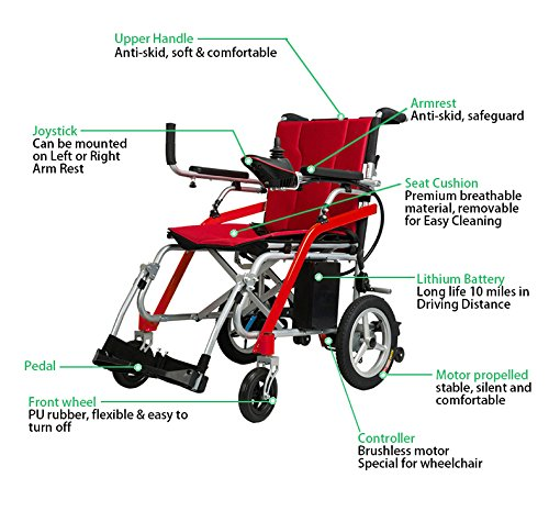 BANGERAN-D11 2018 New Electric Power Propelled Portable Wheelchair Ultra-light Aircraft Grade Magnesium Alloy Frame 29 lbs only Heavy Duty Supports 240 lbs Lightweight Folding Wheelchairs
