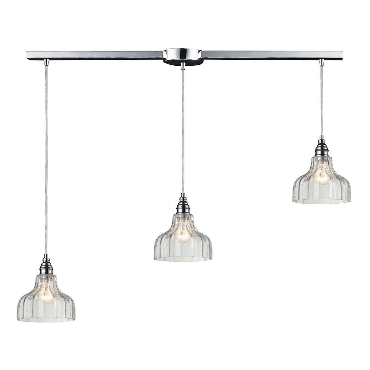 36 by 9-Inch Elk Lighting 46018//3L HGTV Danica 3-Light Pendant with Mercury Glass Shade Polished Chrome Finish