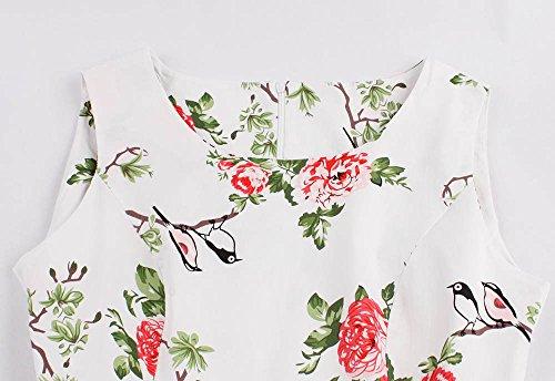 b5cc16cf8295 ... Bestfort Vintage Kleider Damen 50er Retro Mode Rundhals Cocktailkleider  Knielang Ärmellos Festliche Kleine Blumen Rockabilly Kleid ...