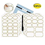 Nardo Visgo Transparent Clear Stickers with Trendy Golden Border,Removable Waterproof Transparent Jars Labels in Assorted Sizes for Jars,Storage Containers or Craft Decoration,93pcs