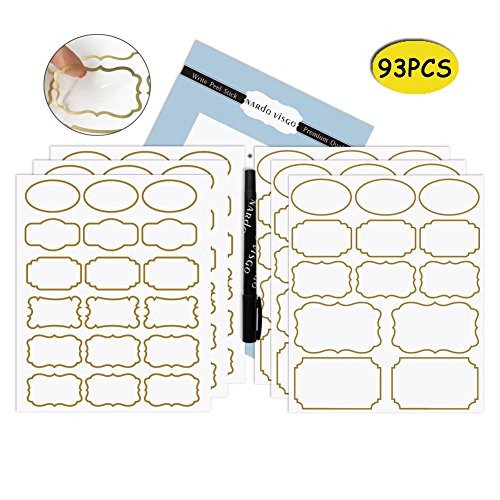 Private Label Occasion (Nardo Visgo Transparent Clear Stickers with Trendy Golden Border,Removable Waterproof Transparent Jars Labels in Assorted Sizes for Jars,Storage Containers or Craft Decoration,93pcs)