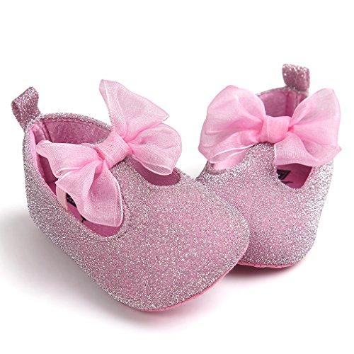 Top-Sell Los Niños Lindo Infantil Decoración Del Arco Del Bebé Zapatos Anti Deslizamiento Suavemente Único Prewalker Rosa