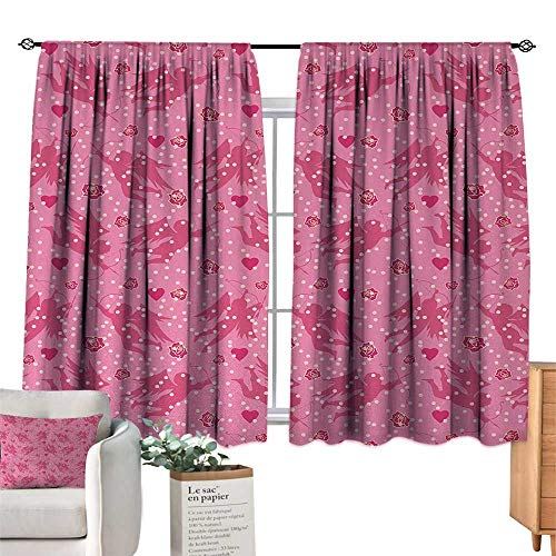 Sliding Curtains Angel,Eros with Hearts and Old Fashioned Polka Dots Rose Petals Valentine Retro,Hot Pink Blush Magenta Noise Reducing 72