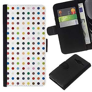 All Phone Most Case / Oferta Especial Cáscara Funda de cuero Monedero Cubierta de proteccion Caso / Wallet Case for Samsung Galaxy Core Prime // Polka Dot White Pastel Color Pattern