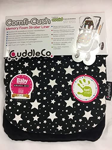 Brand new CuddleCo comficush memory foam stroller liner Black with white stars