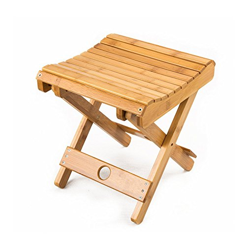 Price comparison product image EtechMart Eco-friendly Bamboo Folding Stool for Shaving Shower Foot Rest 12""