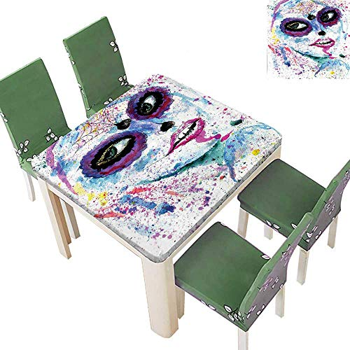 Printsonne Indoor/Outdoor Polyester Tablecloth Halloween Lady with Sugar Skull Make Up Creepy Dead Face Gothic Woman Wedding Party 50 x 50 Inch (Elastic -