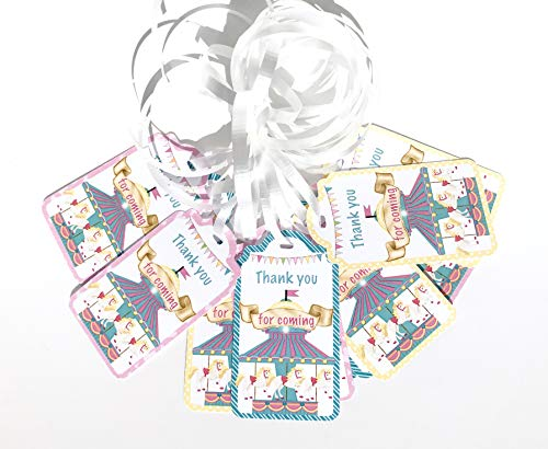 Carousel Thank You Tags 12 pcs - Pink Horse Favors Birthday Decoration Party Supplies, Baby Shower -