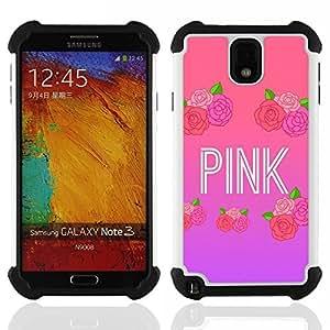 - Pink roses music artist text love - - Doble capa caja de la armadura Defender FOR Samsung Galaxy Note3 N9000 N9008V N9009 RetroCandy