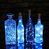AAA226 15/20 LED Wine Bottle Cork Lights Silver Wire Battery Operated String Lights - 1.5M (Blue)