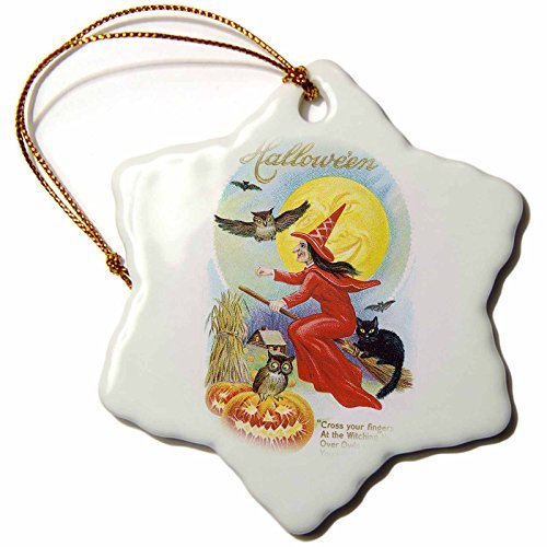 Ornaments to Paint BLN Vintage Halloween - Vintage Halloween Witch in Red Flying Her Broom with Owls and Black Cat Against Full Moon -
