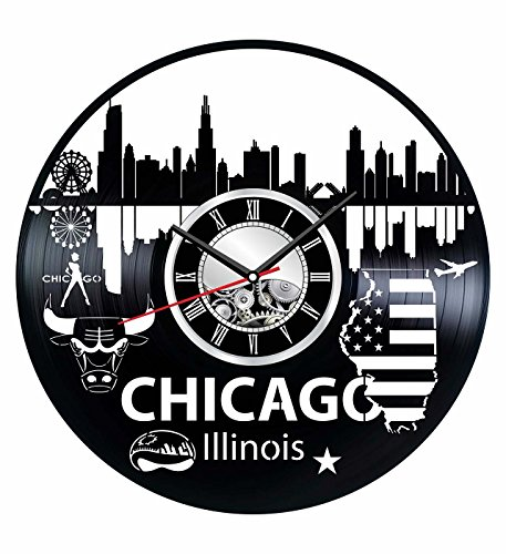 Illinois Chicago Wall Clock Made of Vintage Vinyl Records - Stylish Clock and Amazing Gifts Idea – Unique Home Decor – Personalized Presents for Men Women Kids – Great for Living Room Bedroom Kitchen