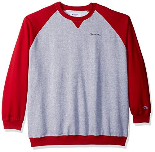 Raglan Crew Sweater (Champion Men's Big and Tall Fleece Ls Crew Raglan with Contrast Sleeves, Oxford Heather/Bright Red, 4X)
