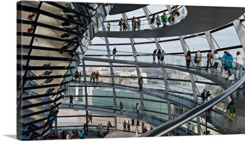 Tourists near the mirrored cone at the center of the dome, Reichstag Dome, Berlin Gallery-Wrapped - Dome Reichstag Berlin