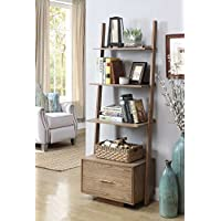 Convenience Concepts American Heritage Ladder Bookcase with File Drawer, Driftwood