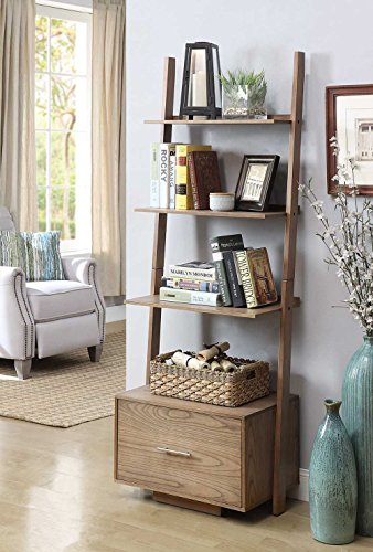 - Convenience Concepts American Heritage Ladder Bookcase with File Drawer, Driftwood