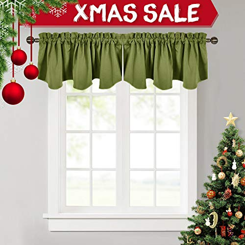 NICETOWN Window Dressing Blackout Curtain - 52-inch by 18-inch Thermal Insulated Scalloped Rod Pocket Valance for Window, Olive, 1 - Valance Tailored Garden