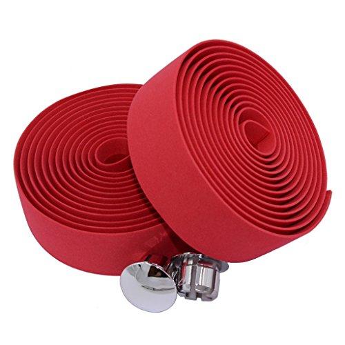KINGOU EVA Red Road Bike Handlebar Tape Wraps with Bar Plugs - 2PCS Per Set -